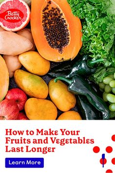 Curious how to make fruits and vegetables last longer? We've got you covered. Pin today for tips and tricks. Fresh Fruits And Vegetables, Betty Crocker, Kitchen Hacks, Cantaloupe, Helpful Hints, Snacks, Make It Yourself, Cooking, Food