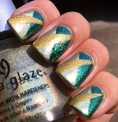 Sparkly green, gold and silver colorblock nail art design