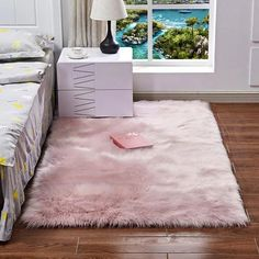 Luxury Plush Faux Fur Rugs For Bedroom Artificial Wool Soft Fluffy White Fur Rug For Living Room Bedroom Couch Area Floor Rugs – Area Rugs in bedroom Fluffy Rugs Bedroom, Bedroom Couch, Living Room Bedroom, Bedroom Balcony, Bedroom Mats, Fur Carpet, Plush Carpet, Rugs On Carpet, Carpet Mat
