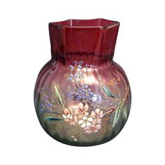 Cranberry Glass Vase with Enamel Flowers