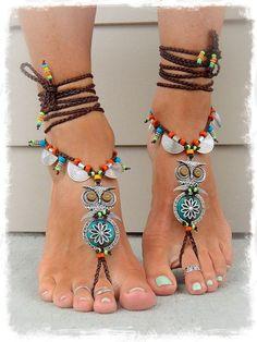 Босые сандалии бохо с совами.