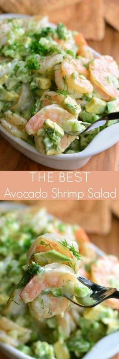 The BEST Avocado Cold Shrimp Salad. This shrimp salad is made with delicious boi… The BEST Avocado Cold Shrimp Salad. This shrimp salad is made with delicious boiled shrimp, fresh avocado, fresh dill week, green onions, and some celery for added crunch. Taco Salad Recipes, Avocado Recipes, Fish Recipes, Seafood Recipes, Pasta Recipes, Cooking Recipes, Healthy Recipes, Keto Recipes, Avocado Ideas