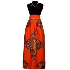 Dashiki High-Waist African Print Maxi Skirt (Orange)