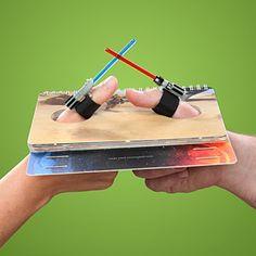 Lightsaber thumb battle book - Cute stocking stuffer for the boys for Christmas!