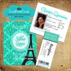 Paris Mint Green Passport with Ticket Reception Pass
