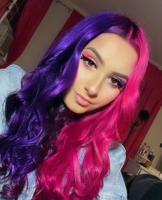 Arctic Fox hair color is vibrant, long-lasting, semi-permanent hair dye that is made in the USA. We are vegan, cruelty-free and contain added conditioners. Two Color Hair, Cute Hair Colors, Hair Dye Colors, Dyed Hair Purple, Hair Color Purple, Dye My Hair, Punk Hair Color, Blonde Color, Split Dyed Hair