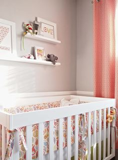 Suzie: Cape 27 - Adorable gray & coral girl's nursery design with gray walls paint color, coral ...
