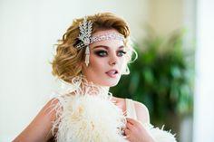 Great Gatsby Wedding Headpiece Headband with Rhinestones and Pearls