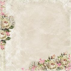 White and pink roses on off white textured backgroun. Scrapbook Background, Background Vintage, Paper Background, Scrapbook Paper, Scrapbooking, Text Background, Papel Vintage, Decoupage Vintage, Decoupage Paper