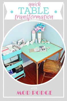 Refresh an old table in minutes with wrapping paper and Mod Podge! Quick home…