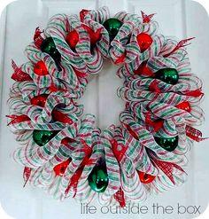 Christmas Deco Mesh Wreath Tutorial