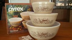 Pyrex Forest Fancies Vintage Mixing Bowl Set Mint by RetroSister