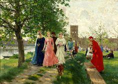 Raffaello Sorbi (Florencia, 1844-1931) Dante encuentra a Beatriz . Dante meets Beatrice (1903)  #20th #Contemporary #Painting #RaffaelloSorbi