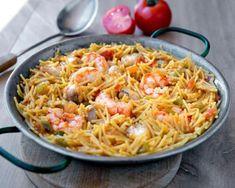 Fideuá de rape y gambas Spaghetti, Fish, Cooking, Healthy, Ethnic Recipes, Diabetes, Curry, Chocolate, Gastronomia