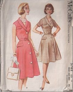 MOMSPatterns Vintage Sewing Patterns - McCall's 5762 Vintage 60's Sewing Pattern SMASHING Shawl Collar Front Wrap Around & Side Button Coat Dress, Flap Trim