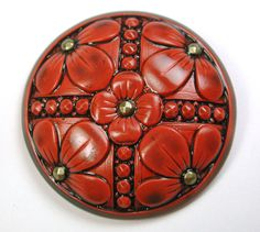 "Art Stone Button Floral Cinnabar Color 1 & 1/2 "" FREE US SHIPPING"