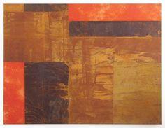 Stefan Philipps, Rost Rot - Rost und Farbe auf Japanpapier auf Leinwand, 130 x 100 cm, 2009