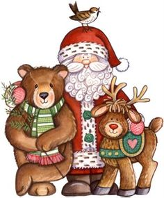 Santa and Friends Clip Art Christmas Graphics, Christmas Clipart, Santa Christmas, Christmas Printables, Country Christmas, Christmas Pictures, All Things Christmas, Christmas Crafts, Christmas Ornaments