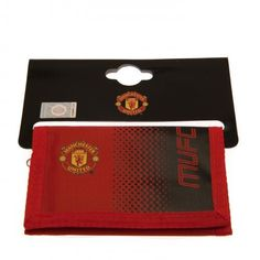 Nylon Manchester United wallet in club colours with velcro opening, zipped pocket at the back for change and plenty of room for your cards. FREE DELIVERY on all of our football gifts.