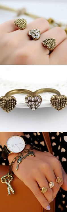 Gold Crystal Bead Heart Two Fingers Ring <3