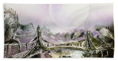 Bridge Of Spirits Beach Towel Printed with Fine Art spray painting image Bridge Of Spirits by Nandor Molnar (When you visit the Shop, change the size, orientation and image size as you wish)