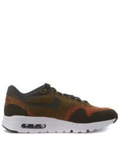 NIKE Sneaker Nike Air Max 1 Ultra Flyknit In Tessuto Verde E Arancione. #nike #shoes #sneakers