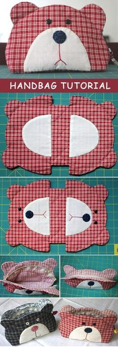 Teddy-bear-quilt-bag-tutorial- JAPANESE with pictures for guidance.