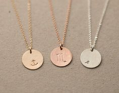 Blank or Personalized Gold or Silver Circle Necklace - Simple, Minimal, Everyday Gold Necklace. Beautiful, Hand-Hammered 14k Gold Filled Disc that can be left blank or stamped with a letter or symbol of your choice. Necklace: HAMMERED DISC - - Medium, 13mm circle tag (LN213_V_hm) -