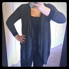 Cache black and white striped cardigan Super cute and comfy cardigan Cache Sweaters Cardigans