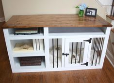 Made to Order Custom Built Dog Crate Furniture - Dog Kennel Furniture - Solid Wood with Shelves, Dog Crate TV Stand, Dog Kennel Table by CurlyWillowGallery on Etsy https://www.etsy.com/listing/532448411/made-to-order-custom-built-dog-crate