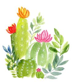 Cactus Flowers Watercolor Greeting Card - Printed - Any Occasion - Bir. - Products -Succulent Cactus Flowers Watercolor Greeting Card - Printed - Any Occasion - Bir. Succulents Wallpaper, Watercolor Succulents, Watercolor Cactus, Watercolor Paintings, Watercolour, Cactus Painting, Cactus Art, Cactus Flower, Flower Art