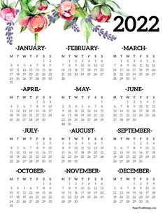 Use this floral design 2022 Monday start one page year at a glance calendar to stay organized and decorate your binder, planner, or space. Printable Yearly Calendar, Printable Calendar Template, Calendar Pages, 2019 Calendar, Desk Calendars, Free Printables, Monthly Planner, Student Calendar, Binder Planner
