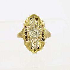 Twinkling Art Deco Diamond Ring in 14k Gold Filigree, Half Carat Antique Diamond Ring, Dinner Ring Style AS IS