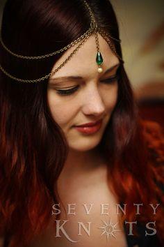 Items similar to Goddess Hairchain, Headpiece, Hair Jewelry - [ Skippers Daughter ] - GREEN Glass & Pearl Drop on Etsy Chain Headpiece, Headpiece Jewelry, Head Jewelry, Face Jewellery, Headdress, Wedding Jewelry, Vestidos Viking, Bridal Hair Buns, Wedding Veils