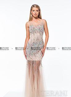Vestido de festa longo en tule illusione Terani 151P0109A