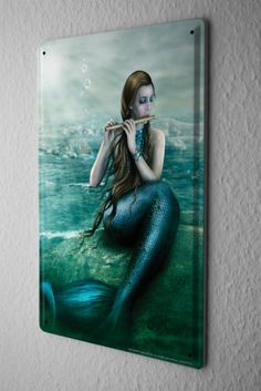 "Tin Sign Metal Poster Gothic Mermaid pan flute rock Dream World Vintage Decoration 8X12"""
