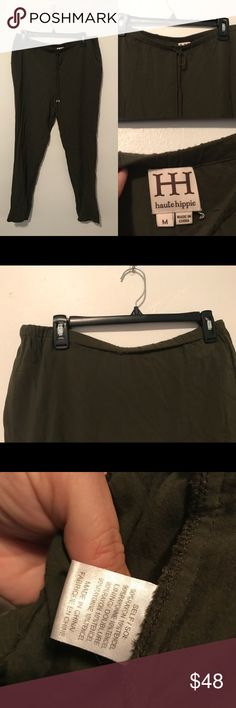 Haute Hippie olive green pants M GUC Good condition. The waist band is a little rolled over on back side. Smoke and pet free home. Bundle discount 20% Haute Hippie Pants