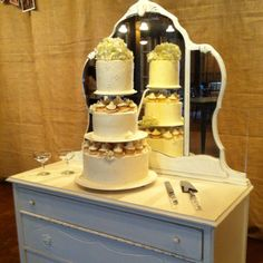 Love the cake on the dresser with mirror! Fabulous idea!