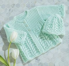 Kit to knit includes Baby's Best yarn and buttons. Shown in (06) Mint or choose any Baby's Best color.