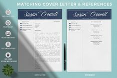 Creative Resume Templates for MS Word and Mac Pages. Professional Resume Templates and Matching Cover Letter + References Pin for later! cover letter for resumes, covering letters for resume, covering letter for resumes