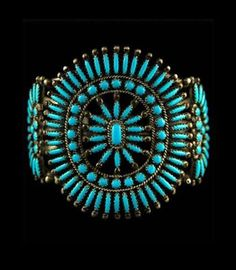From salvaging metal from old kettles for jewelry, to the masterful inlay and needlepoint bracelets and cuffs of today, the Indians of Zuni Pueblos have moved easily from primitive hand stamping on found metals to museum quality, highly collectible jewelry without missing a step!