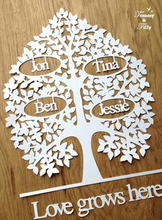 TEMPLATE - 'Personalised Family Tree' (Up to 10 names) Papercutting Template DIY / CYO