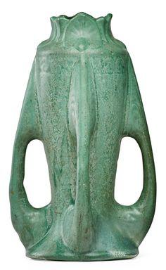 Radford (Radura) Pottery vase, four buttress handles, matte green glaze, in.