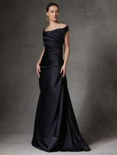Reem Acra Satin Pleated Off-the-Shoulder Gown by Artika