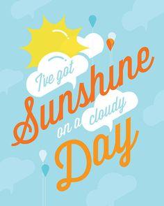 Items similar to Song Lyrics Art I've Got Sunshine Framed Print Typography Retro Quote Sky Blue Clouds Orange Yellow Sun Raindrops Balloons Happiness on Etsy