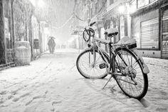 Зима, велосипед, снег