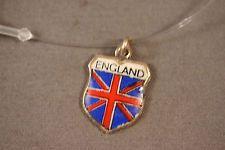 Vtg Sterling Silver Enamel Charm ENGLAND Travel Shield