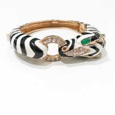 Ciner NY 18K Gold Plating Zebra Box & Tongue Clasp Bracelet