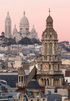 Sacre Coeur and Trinite at dusk, Paris, France