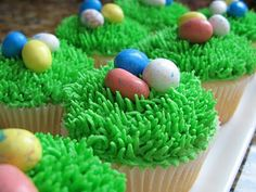 Shawn wants Easter egg cupcakes to go with the Easter Bunny cake!  I think these will do!